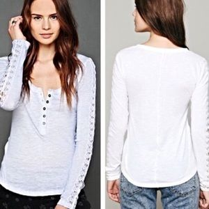 White free people long lace sleeve Henley shirt xs